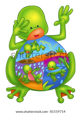 cute and colorful frog