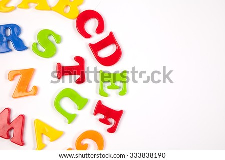 Cute and colorful Plastic and magnet  alphabet letter set. Concept of back to school. Shot with natural light. Slightly defocused and close-up shot. Copy space.