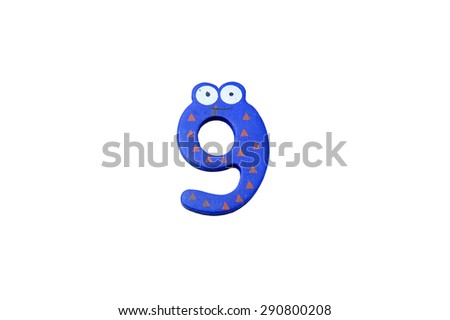 "Cute and colorful wooden number ""9"" on a white background.  Concept of back to school. Close-up shot. - stock photo"