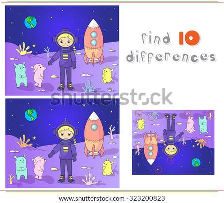 Cute and friendly martians greeting astronaut on their planet. Cosmonaut landed on the moon's surface. Educational game for kids: find ten differences.