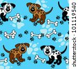 Cute and fun spotted cartoon dogs with paw prints and bones that can be used as borders or full wallpaper pattern, perfect for pet related articles. - stock photo