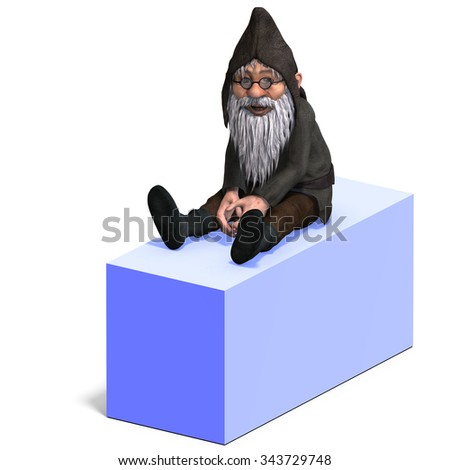 cute and funny cartoon garden gnome.3D rendering with clipping path and shadow over white - stock photo