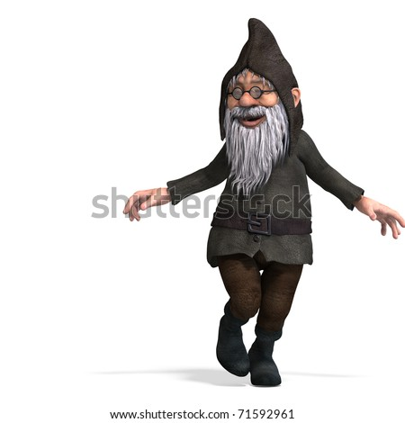 cute and funny cartoon garden gnome. 3D rendering with clipping path and shadow over white - stock photo