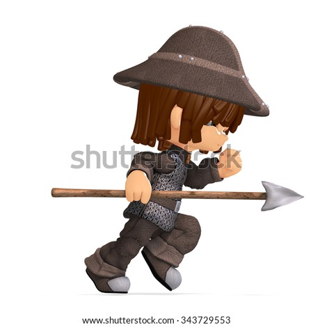 cute and funny cartoon guard. 3D rendering with clipping path and shadow over white