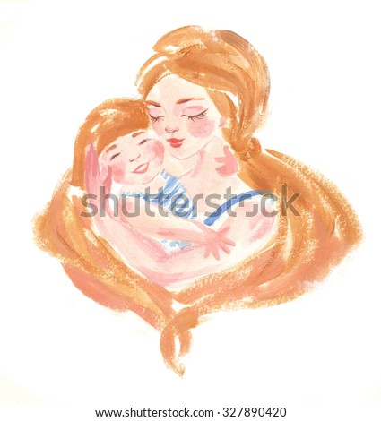 Cute and gentle illustration of happy mom and her baby-girl. - stock photo