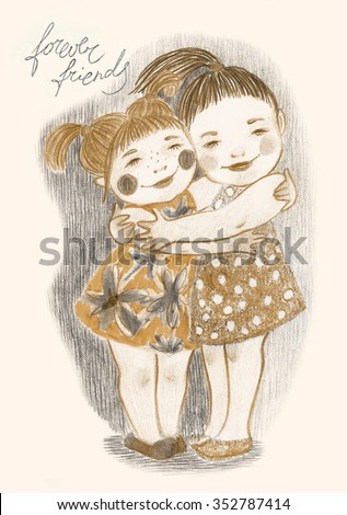 Cute and gentle illustration of two little hugging girls. Nice picture for lovely card in retro style! - stock photo