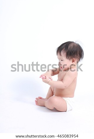 Cute and healthy baby with white background, cute baby sitting on the floor.