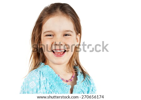 Cute and natural little blond girl laughing             - stock photo