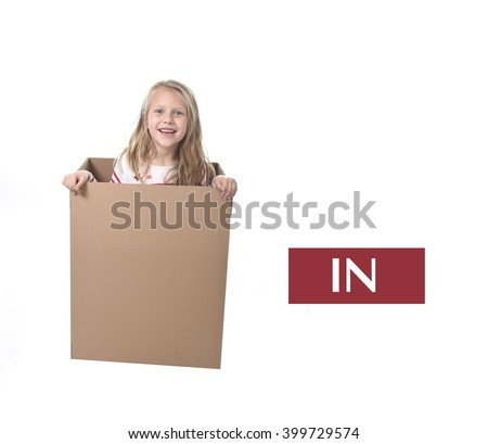 cute and sweet blond hair child in cardboard box isolated on white background  in learning english prepositions and words language card set for education school textbook - stock photo