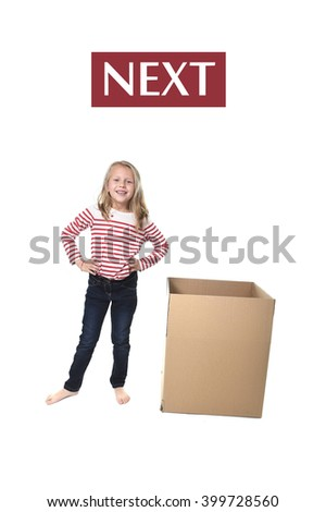 cute and sweet blond hair child standing next to cardboard box isolated on white background in learning english prepositions and words language card set for education school textbook - stock photo