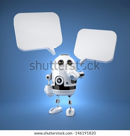 Cute Android Robot with speech bubbles. Rendered over blue background - stock photo