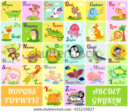 Cute animal alphabet. English Alphabet poster. Nursery Wall Art, Animal Themed, Kid's Art Decor, Gender Neutral Nursery, ABC, Children's Wall. Cute animal alphabet illustration