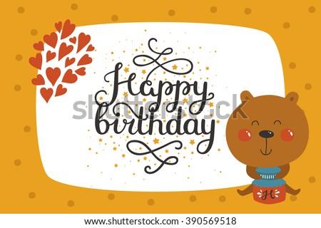 Cute animal card with bear. Happy birthday card with baby animal in love. Animal card - stock photo