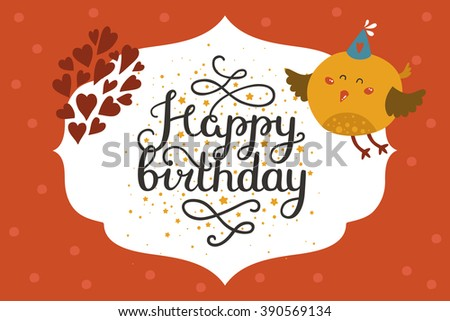 Cute animal card with bird. Happy birthday card with baby animal in love and lettering. Greeting animal card - stock photo