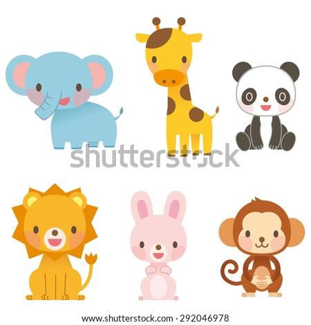 "Cute animal illustrations ""6 animals"" - stock photo"