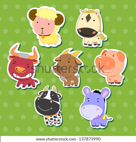 cute animal stickers with sheep, bull, goat, dairy cattle, donkey, pig, and horse. - stock photo