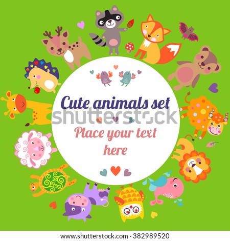Cute animals Jpg. Cute animals illustration. Cute animals walking around globe with text frame, Save animals emblem, animal planet, animals world, card, gift