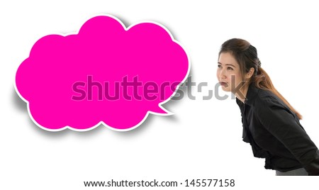 Cute asain woman in black shirt isolated on white background.