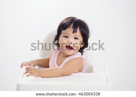 cute asian baby girl vintage and grain picture style
