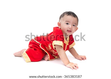 Cute Asian baby in traditional Chinese suit Isolated on white background, Chinese New Year Concept