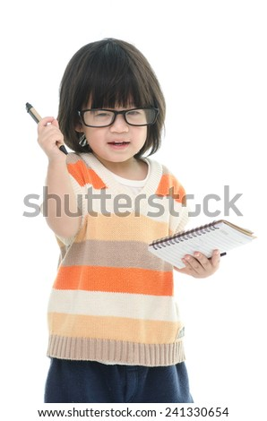 Cute asian baby thinking on white background isolated - stock photo