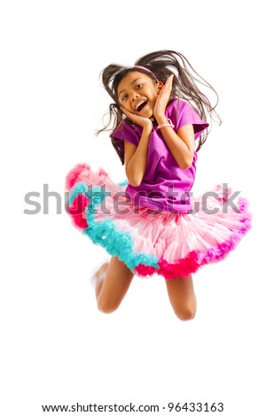cute asian ethnic girl with tutu skirt jump high isolated on white