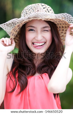 Cute asian girl making a funny face  - stock photo