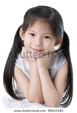 cute asian girl puts her hands under her chin, isolated on white background - stock photo