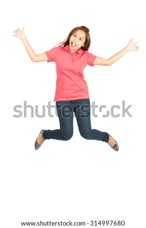 Cute Asian woman in casual clothes, jumping in the air with an exaggerated smile, arms and legs extended, showing an extreme happiness, ecstatic, or overjoyed emotion