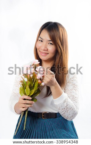 Cute Asian Woman On White Background