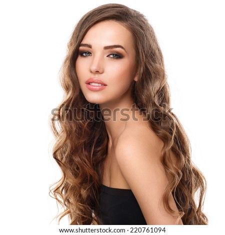 Cute, attractive girl with curly hair - stock photo