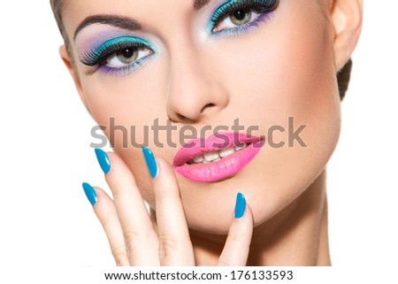 Cute, attractive woman with colorful makeup
