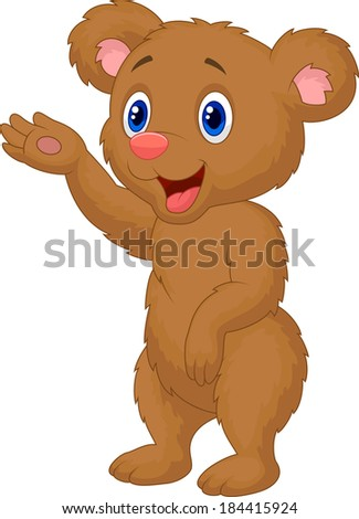 Cute baby bear waving hand - stock photo