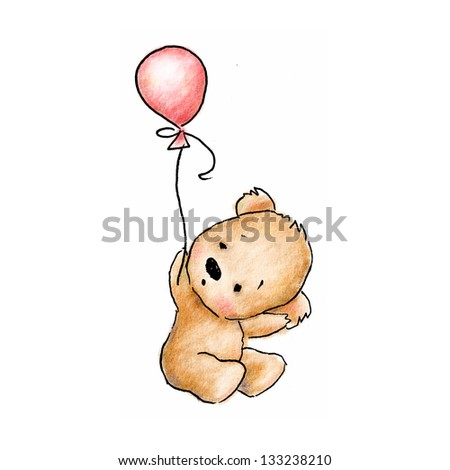 cute baby bear with pink balloon on white background - stock photo