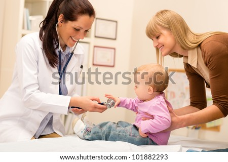 Cute baby being examine by pediatrician with stethoscope