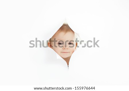 Cute baby boy against white background