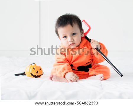 Cute baby boy dressed in pumpkin costume with Jack-ou0027-lantern and Devil  sc 1 st  Shutterstock & Cute Baby Boy Dressed Pumpkin Costume Stock Photo (Royalty Free ...