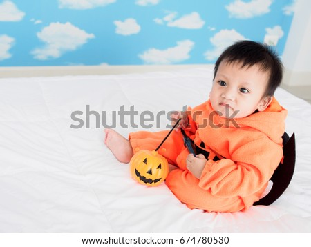 Cute baby boy dressed in pumpkin costume with Jack-ou0027-lantern and Devil  sc 1 st  Shutterstock & Cute Baby Boy Dressed Pumpkin Costume Stock Photo (100% Legal ...