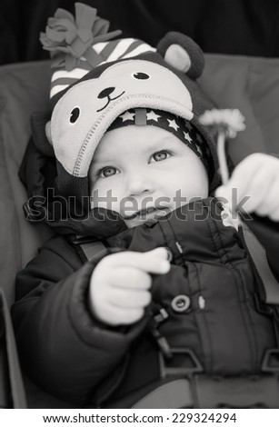 cute baby boy in a stroller holding dandelion in the hand ( black and white ) - stock photo