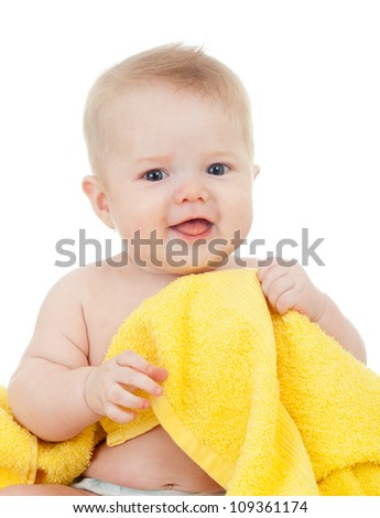 cute baby boy in yellow towel isolated on white - stock photo