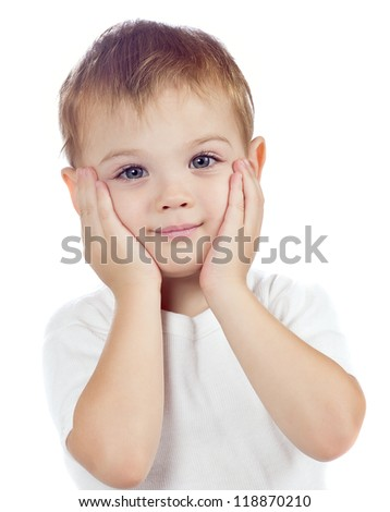 cute baby boy isolated - stock photo