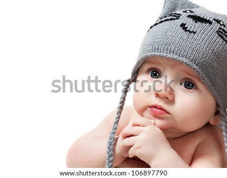 Cute baby boy isolated over white - stock photo