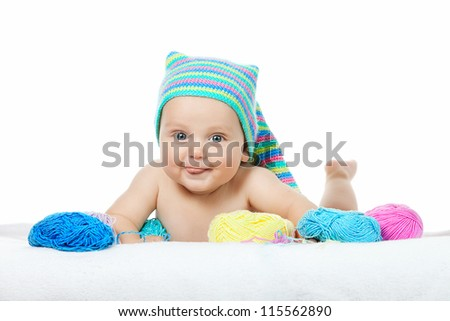 Cute baby boy on white background - stock photo