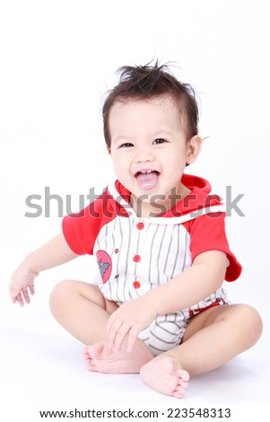 Cute baby boy on white background