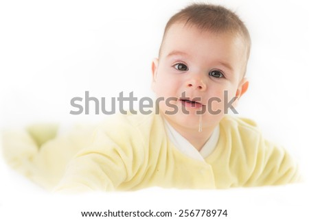 Cute baby boy on white background.  - stock photo