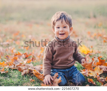 cute baby boy playing with foliage in autumn park - stock photo
