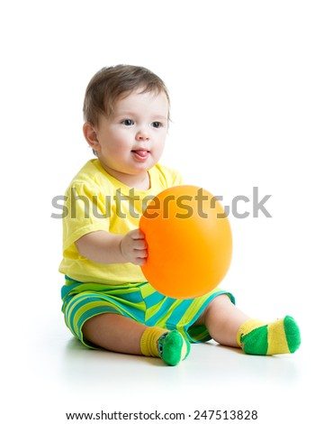 cute baby boy with ballon in hands isolated on white - stock photo
