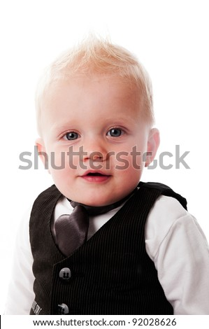 cute baby boy with business suit and tie