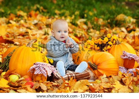 Cute baby boy with pumpkins in autumn garden - stock photo