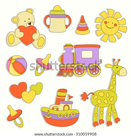 Cute baby colorful labels